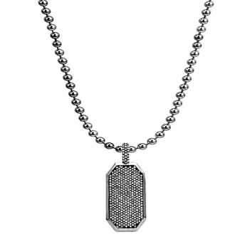 4.75ct Pavé Diamonds in 925 Sterling Silver Dog Tag Necklace