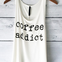 Coffee Addict Tank Top in White
