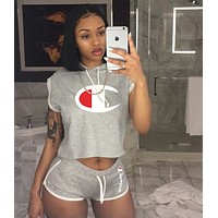 Champion Fashion new high quality casual shorts women letter print two piece purple grey
