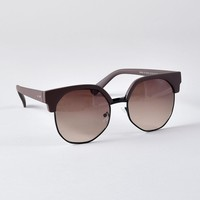 Retro Style Brown Matte Greetings Aviator Sunglasses