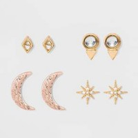 Earring Four Piece Set with Moon Star and Stone