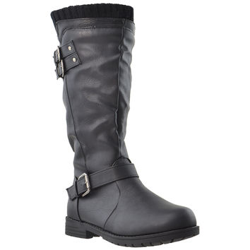 Kids Knee High Boots Knit Calf Vintage Buckles Leather Shoes Black