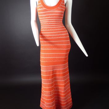 HERVE LEGER-Orange & White Bodycon Evening Gown, Size-XS