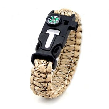 Outdoor Bracelet Survival Tool for Men Women Braided Paracord Multi Camping Rescue Emergency RopeBangles Compass Whistle Knife