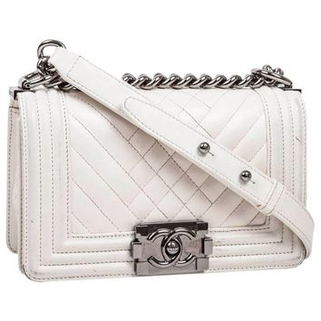 CHANEL 'Boy' Flap Bag in Quilted White Leather