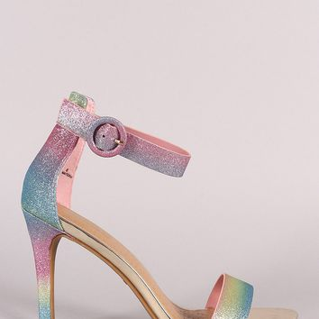Anne Michelle Glitter Ankle Strap Single Sole Heel