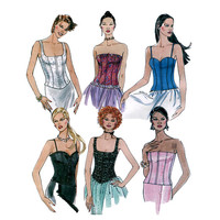 SEXY CORSET TOP Pattern Boned Bustier Fitted Strapless Top Back Zip Corset McCalls 3636 Bust 34 36 38 UNCuT 2000s Women's Sewing Patterns