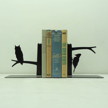 Owl and Woodpecker Metal Art Bookends - Free USA Shipping