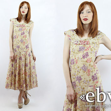 Vintage 80s Laura Ashley Floral Midi Dress XS S Floral Dress Floral Day Dress Summer Dress Laura Ashley Dress Tea Length Dress Tea Dress
