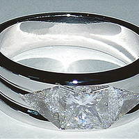 18K Men's ring diamond ring with princess & trilliants