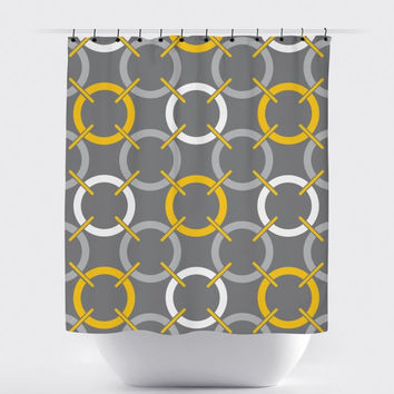 Mustard/Gray Circle Shower Curtain