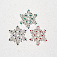 Snowflake Ornaments Beaded Silver with Red, Blue and Teal Green Set of Three