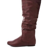 Slouchy Flat Knee-High Boots by Charlotte Russe - Oxblood