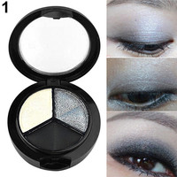 3 Colors Eyeshadow Natural Smoky Cosmetic Eye Shadow Palette Set Beauty Make Up 09WG