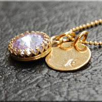June Birthstone Necklace, Birthstone Jewelry, Personalized Tanzanite Necklace, Gold Initial charm necklace, Personalized, Monogram