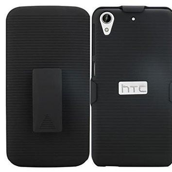 HTC Desire 626 Case, Hybrid Dual Layer EZ Grip Ribbed Holster Case Cover with Built-in Kickstand for HTC Desire 626 - Black
