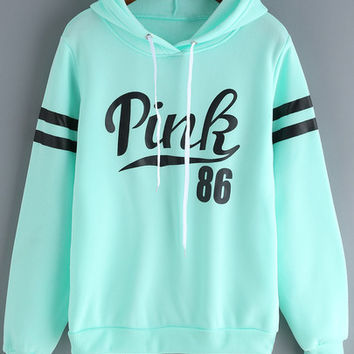 Green Drawstring Hooded Letters Print Sweatshirt -SheIn(Sheinside)