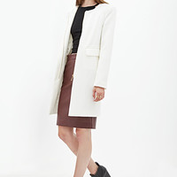 FOREVER 21 Collarless Textured Knit Coat Cream