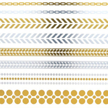 Chains and Bracelets Metallic Temporary Tattoo Gold Silver Festival Beach Holiday Gift Present Flash Tattoo Birthday Anniversary