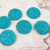 Blue Magnets - Rhinestone Magnets - Decorative Refrigerator Magnets - Set of 6