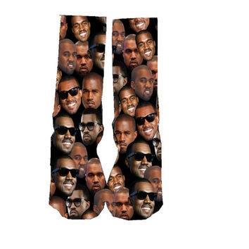 Kanye West custom socks, Groomsmen socks, wedding socks, knees high socks,  kids socks,  black casual socks, birthday gifts