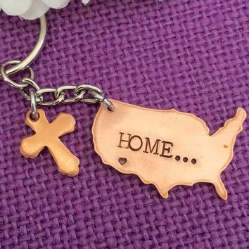 Home is where the heart is - United States Copper Keychain - Home - Faith Long Distance Family - Home is calling - Love my Home
