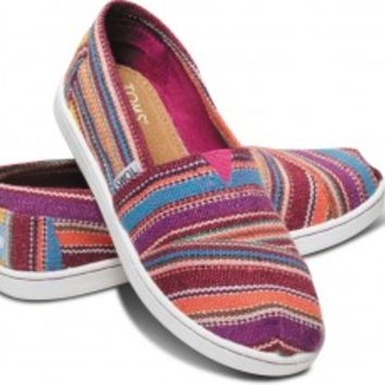 TOMS Purple Serape Youth Classics Slip-On Shoes for Kids,