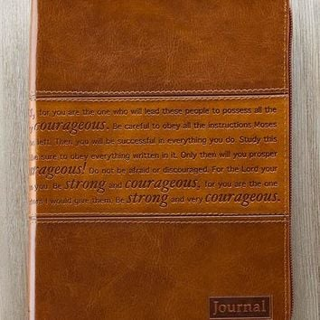 """Lux Leather Journal In Brown  """"Strong And Courageous""""-Joshua  1:5-7"""