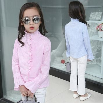 2017 Pink Blue Striped Girls Blouses for School Full Sleeve Mandarin Collar Girl Shirts Kids Regular Tops Children Clothes Bs010