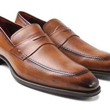 NEW Mezlan Men's Toulon Calf Slip-On, Cognac Shoes