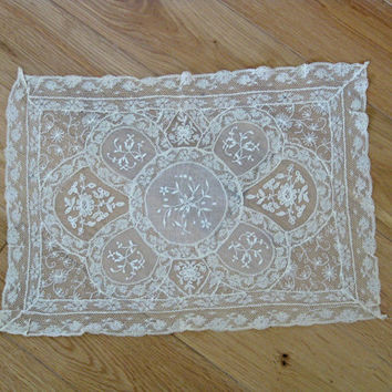 delicate French lace cloth with embroidered muslin panels