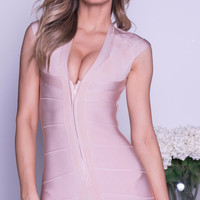 COLLINS BANDAGE DRESS IN NUDE