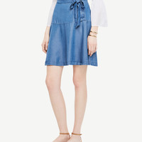 Chambray Lace Up Skirt | Ann Taylor
