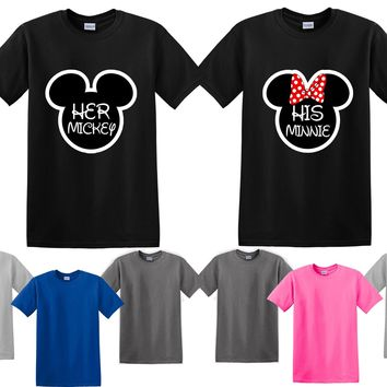 Mickey Minnie His Her Couple Matching Love Set Men T-shirt