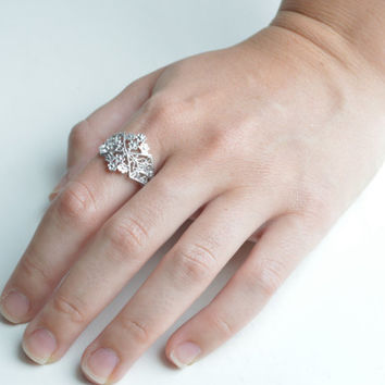 Art Deco Ring - Silver Floral Deco - Metalwork Ring