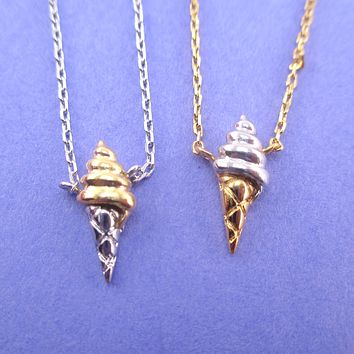 Food Themed Ice Cream Cone Shaped Pendant Necklace