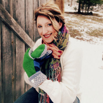 Kelly Green and Blue Wool Sweater Mittens Stripes Dots Navy White Handmade Recycled Sweater Fleece Lined