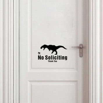 No Soliciting Vinyl Decal T-Rex Dinosaur