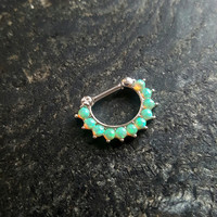 16g (1.2mm) Small Light Green Opal Stone Septum Clicker Nose Ring Hanger Piercing Jewelry (One ring per order)