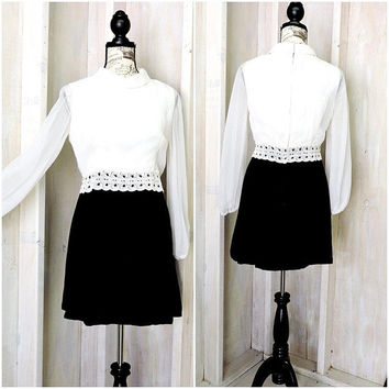Vintage 60s mini dress / retro mod formal 1960s dress / size 9 / 10