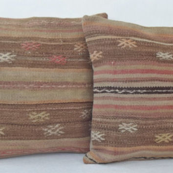 SET of 2 Natural Dyed Anatolian Kilim Pillow Cover, Pale Olive Light Brown Soft Pink Kilim Pillow, Throw Kilim Pillow 16 inch