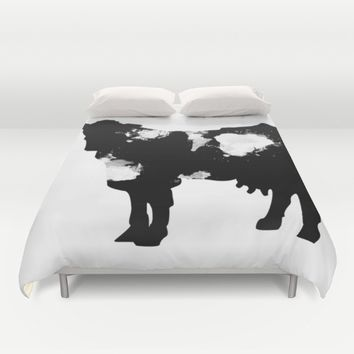 Cow Black and White brush paint splash Duvet Cover by Xiari