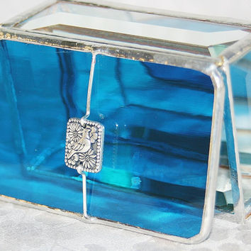 Stained Glass Jewelry Box Turquoise 2x3 w/ by GaleazGlass on Etsy