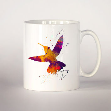 Hummingbird coffee mug, Hummingbird watercolor Tea Cup, coffee cup 11 oz. Mug art, Ceramic Mug art , Hummingbird mug, colorful bird mug