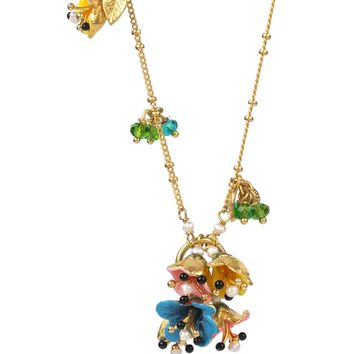 Les Néréides JUST A FLOWER MULTI BELL LONG NECKLACE