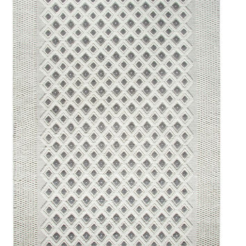 Dynamic Rugs Studio Ivory-Dark Silver Geometric Rectangle Area Rug