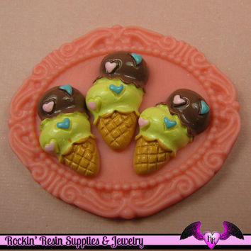 6 pc ICE CREAM CONE Sundae Sweets Decoden Flatback Kawaii Cabochons