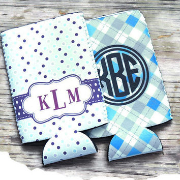 bachelorette party chooses, can hugger, monogrammed koozie, personalized gift, monogrammed gift, beer can hugger, wedding party favor