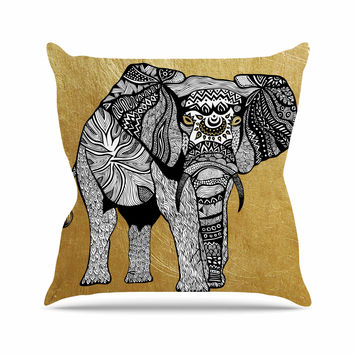 "Pom Graphic Design ""Golden Elephant"" Throw Pillow"