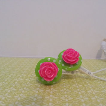 NEW Bright Polka Dot Green and Hot Pink Rose Earbuds